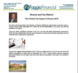 Divorce and Tax Reform Financial Advise